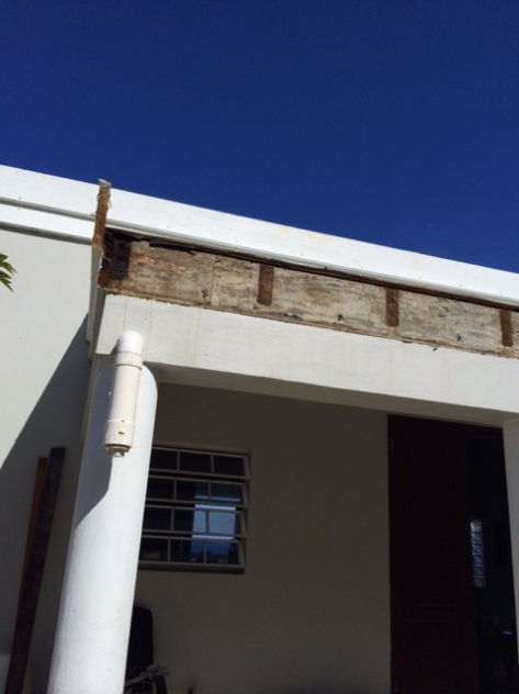 The entire fascia had to be removed and replaced-- land with the plywood and pretty much everything else.