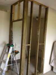framing the new bathroom with added shower