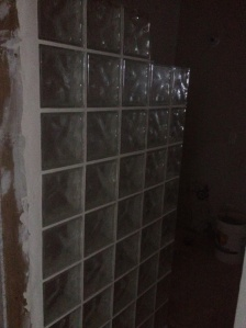 glass block wall in new bath