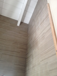 shower walls with drift wood marble tile